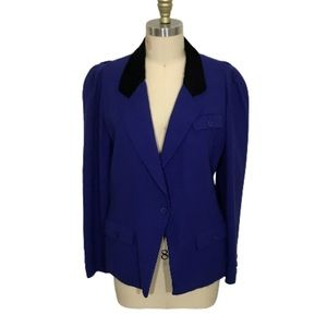 Authentic Vintage Christian Dior Blue Wool Blazer